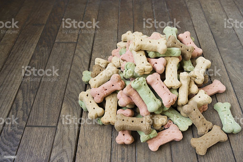 Pile of dog biscuits stock photo