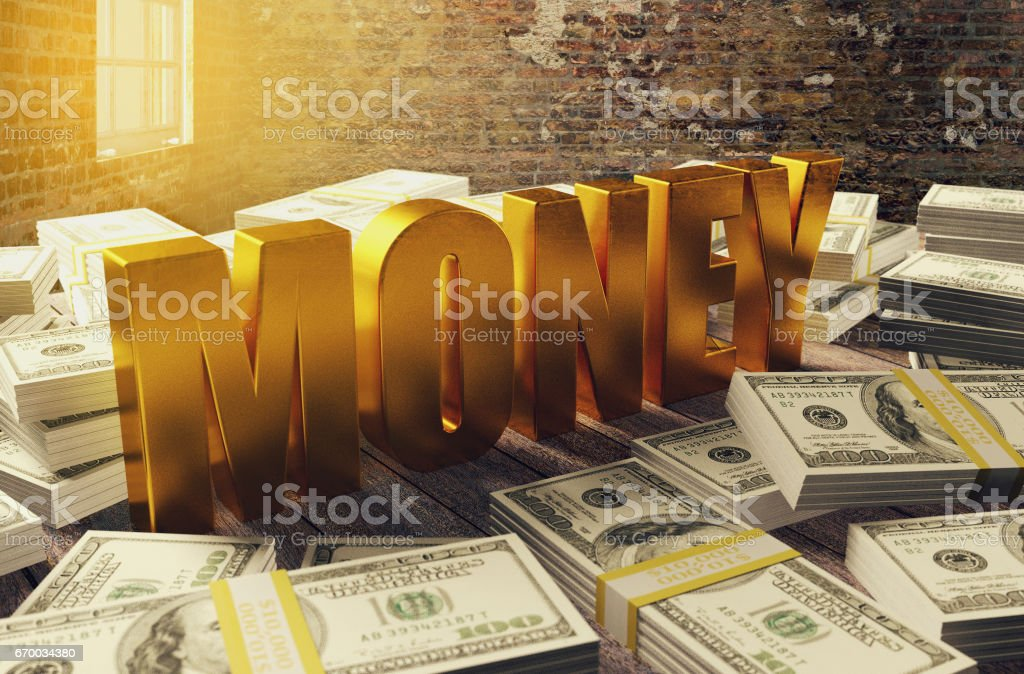 Pile of dollar money with golden money letters stock photo