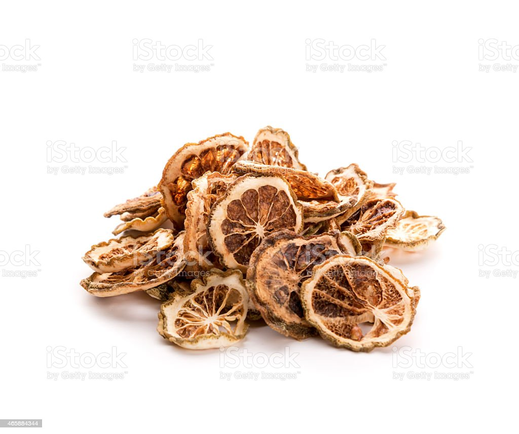 Pile of dried lime slices stock photo