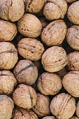 Pile of dried walnuts