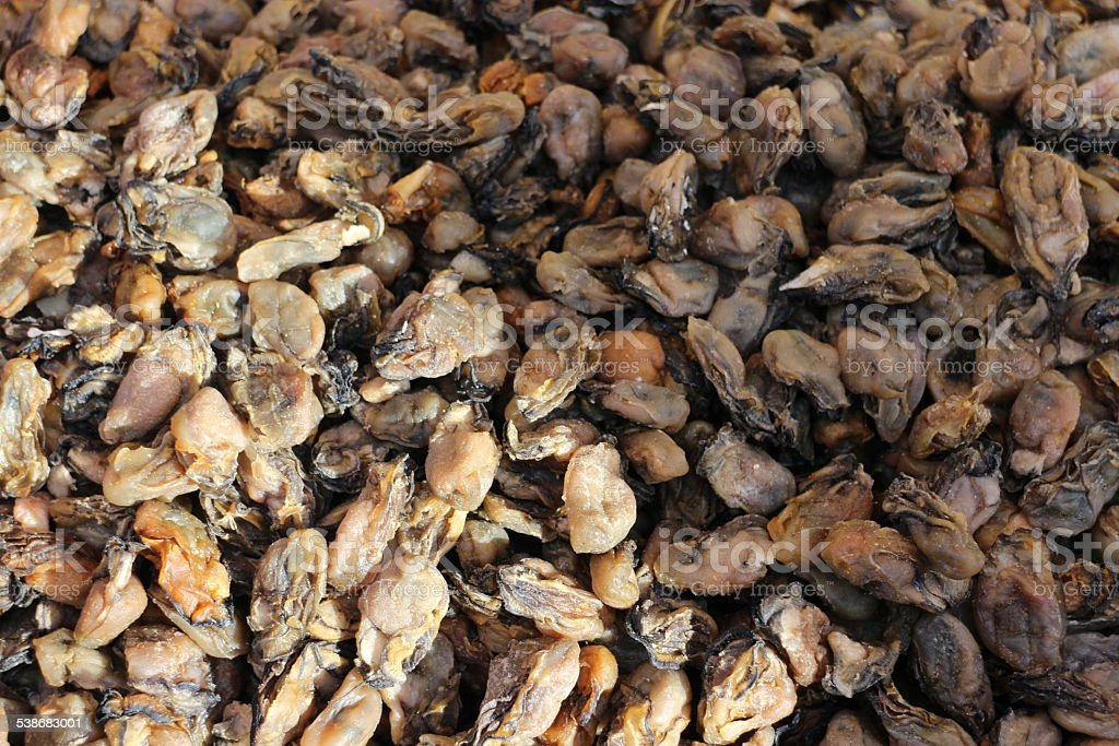 Pile of dryed mussels stock photo