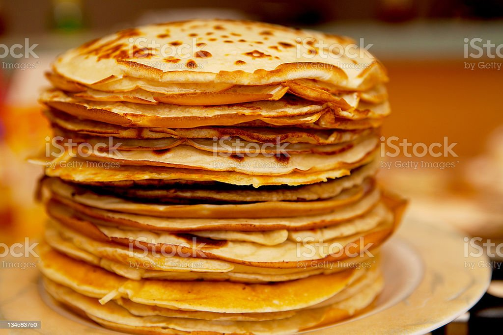 Pile of Dutch pancakes in closeup stock photo