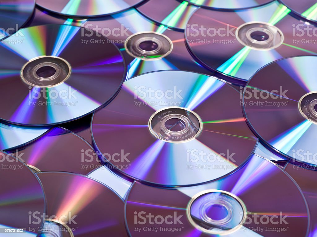 Pile of DVD disks stock photo