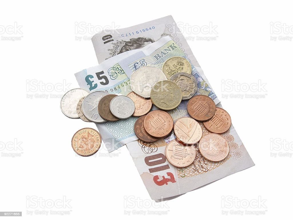 Pile of English coins and notes stock photo