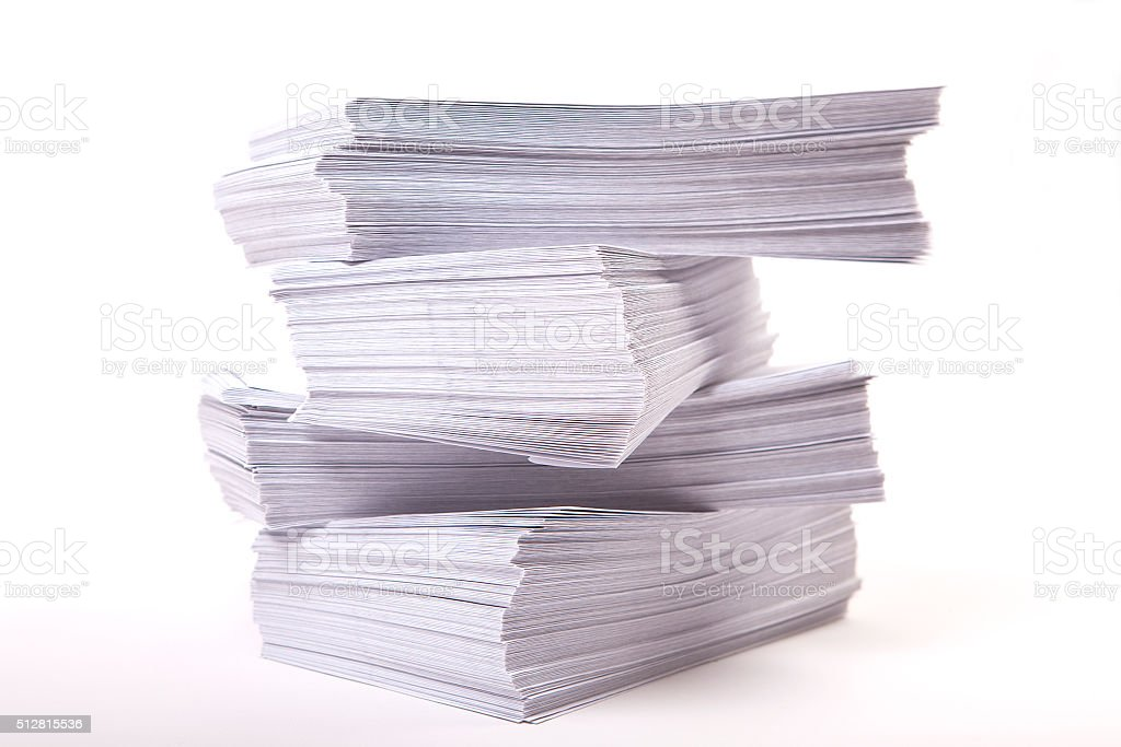 pile of envelopes on white background stock photo