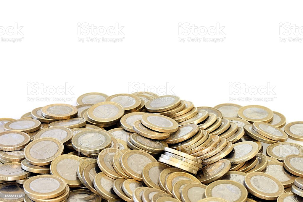 Pile of Euro Coins on White stock photo