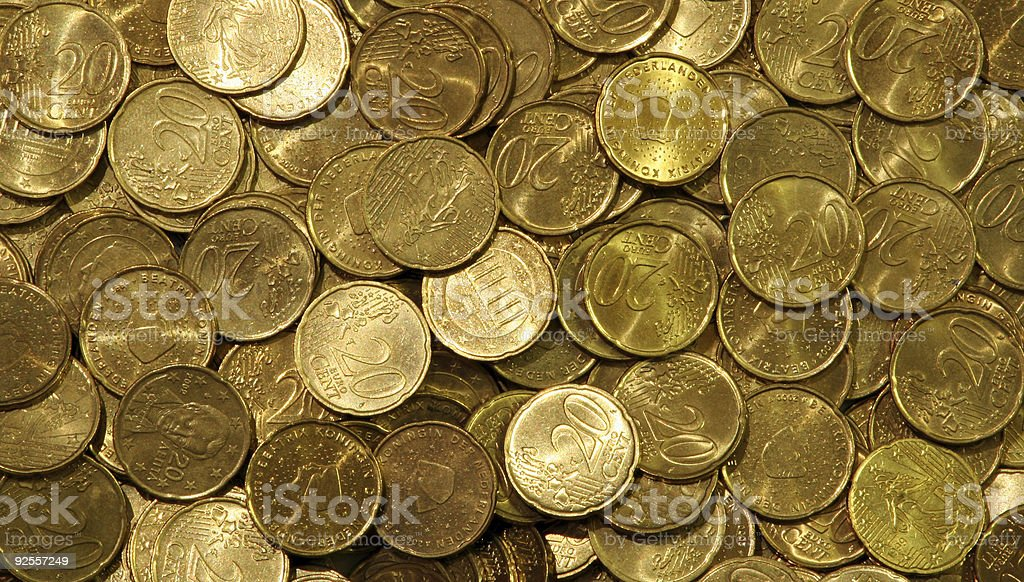 Pile of Euro coins stock photo