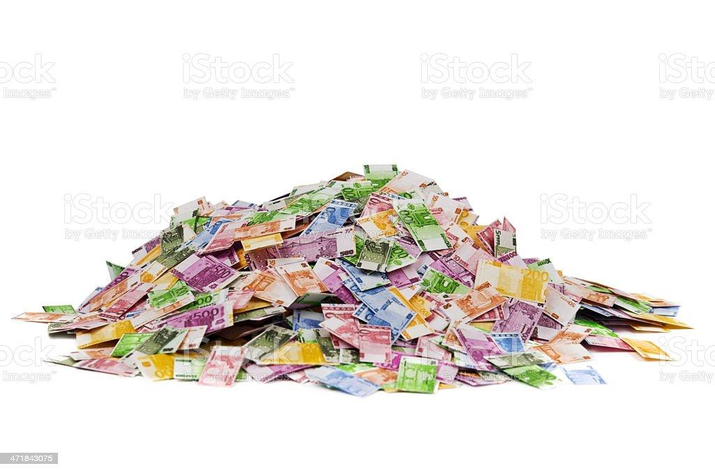 Pile of Euro notes royalty-free stock photo