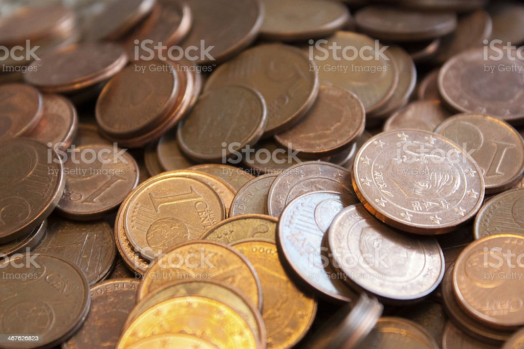 pile of Eurocents stock photo