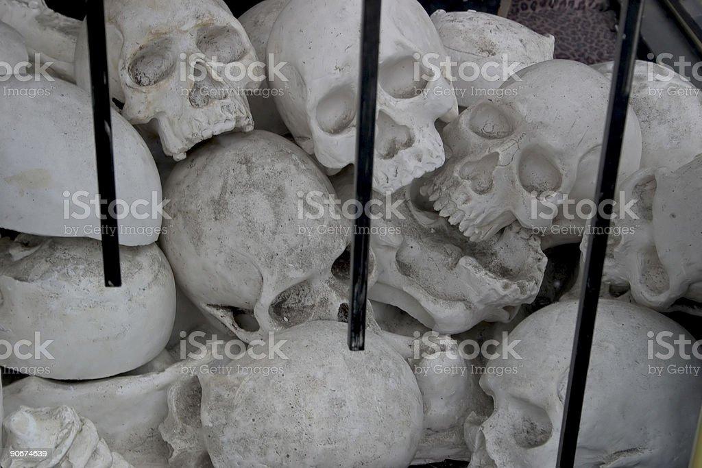 Pile of fake skulls stock photo