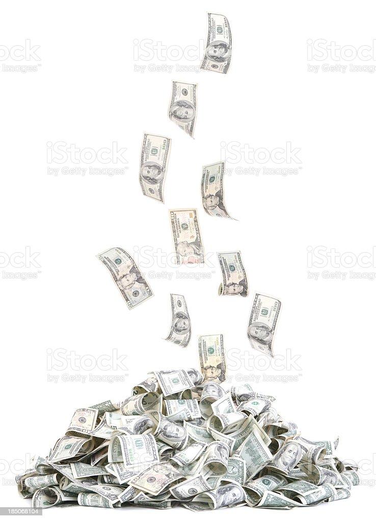 Pile of falling Money stock photo