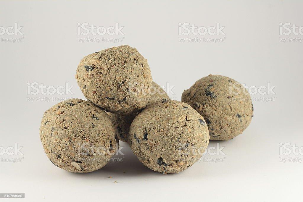 Pile of fat Balls for Feeding Wild Birds stock photo