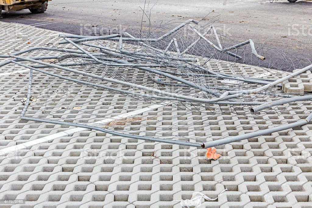 Pile of fence parts at building site stock photo