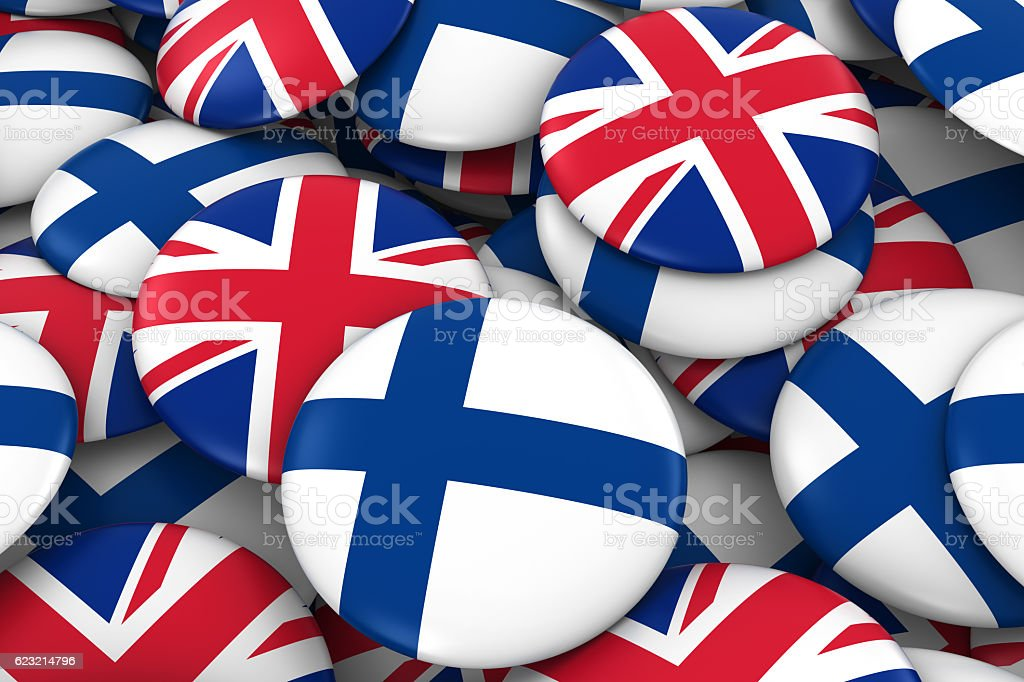 Pile of Finnish and British Flag Buttons 3D Illustration vector art illustration