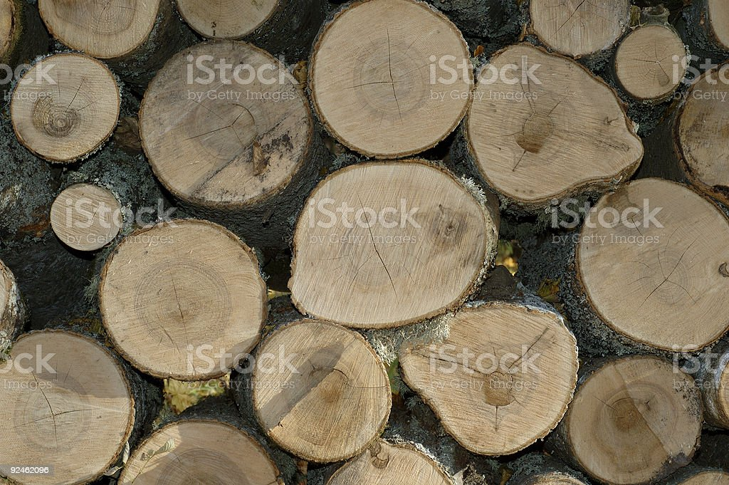 Pile of firewood, round only. royalty-free stock photo