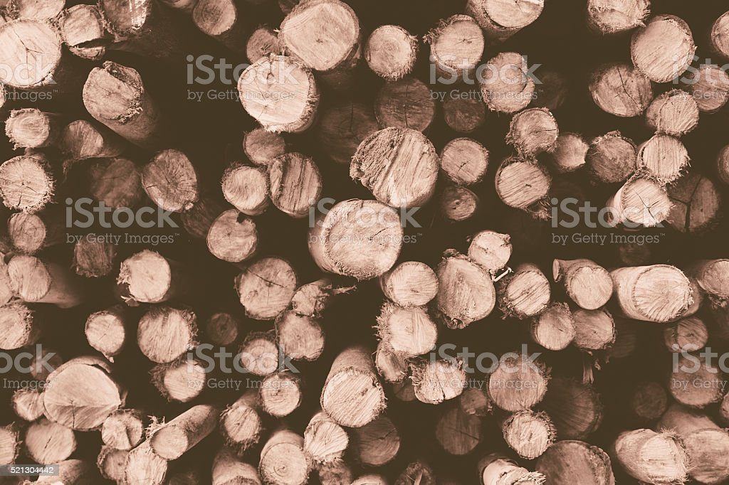 Pile of firewood, Vintage effect stock photo