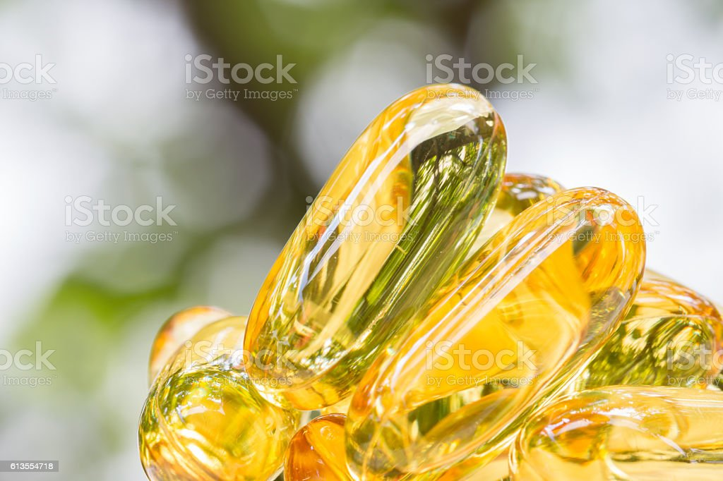 Pile of fish Oil capsules. stock photo