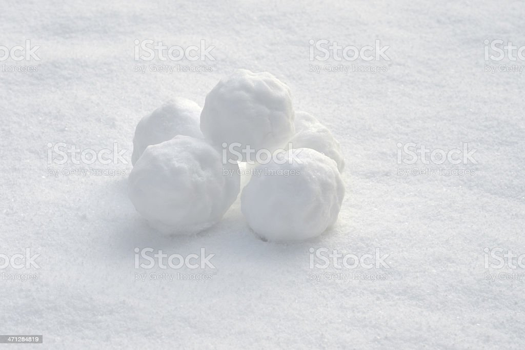 Pile of five snowballs on snowy ground stock photo