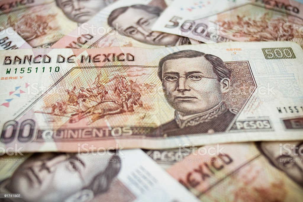 Pile of Five-Hundred Mexican Peso Bills stock photo