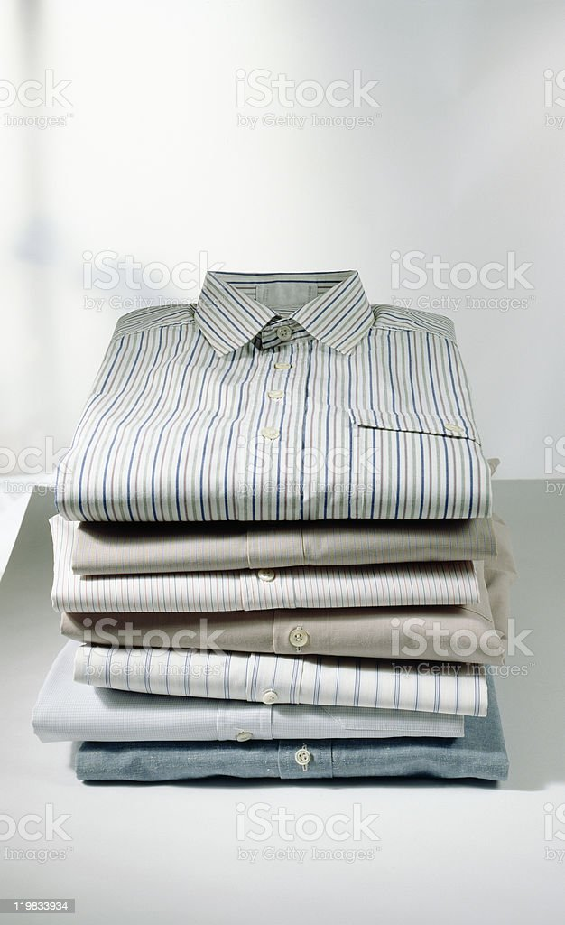 Pile Of Folded Men Shirts royalty-free stock photo