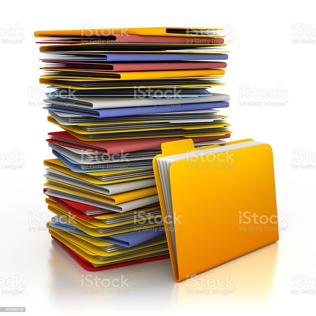 Pile of folders - isolated on white with clipping path stock photo