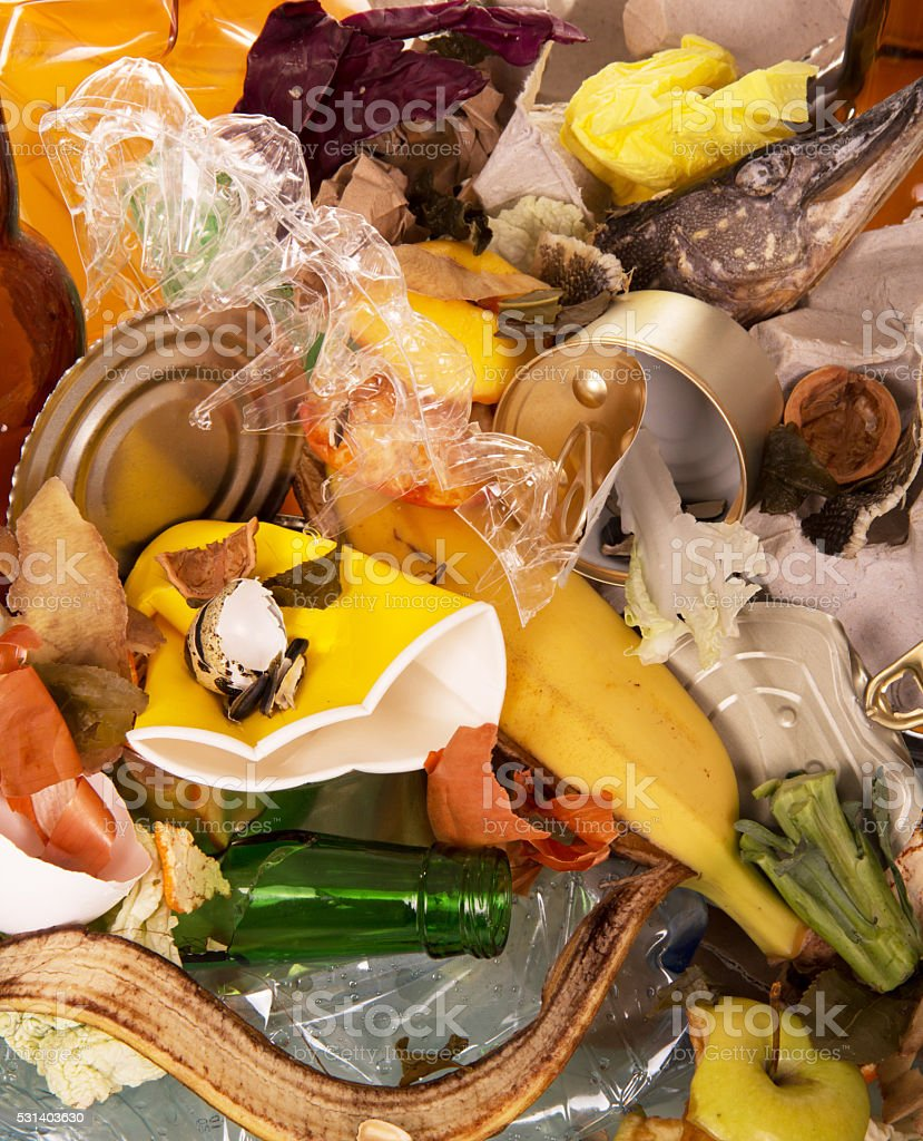 Pile of food and household waste closeup. Texture stock photo