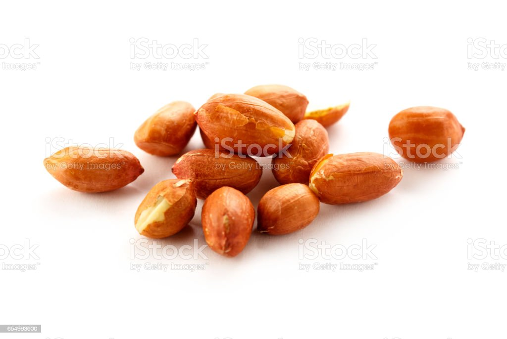 Pile of fresh dried peanuts stock photo
