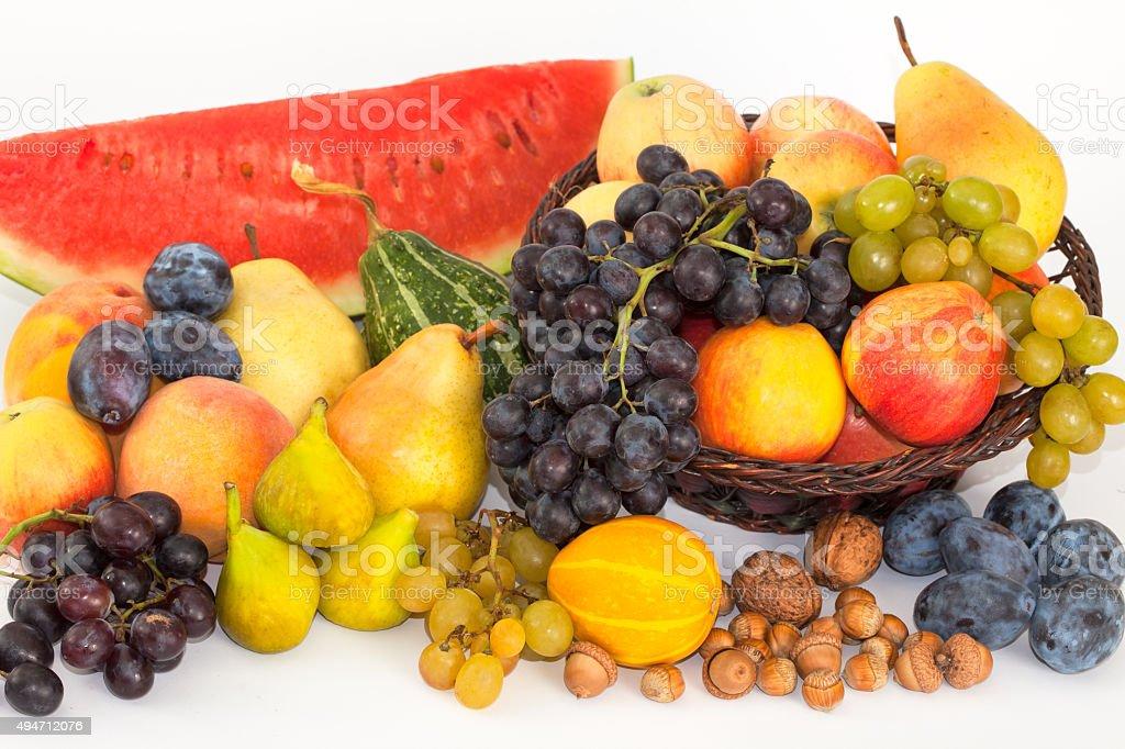 Pile of fresh fruits stock photo