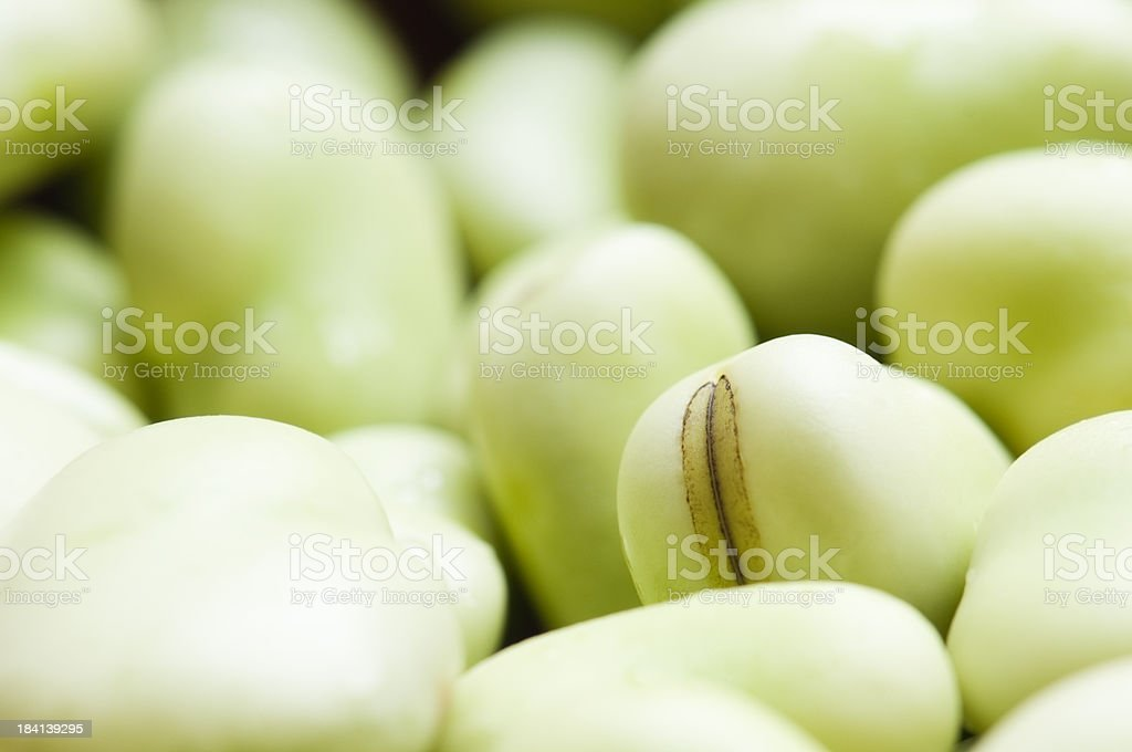 Pile of fresh green broad beans with selective focus royalty-free stock photo