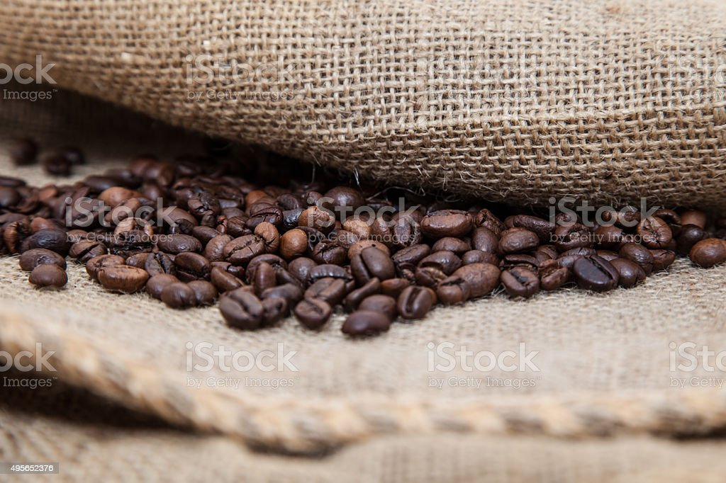 Pile of fresh roasted coffee beans stock photo