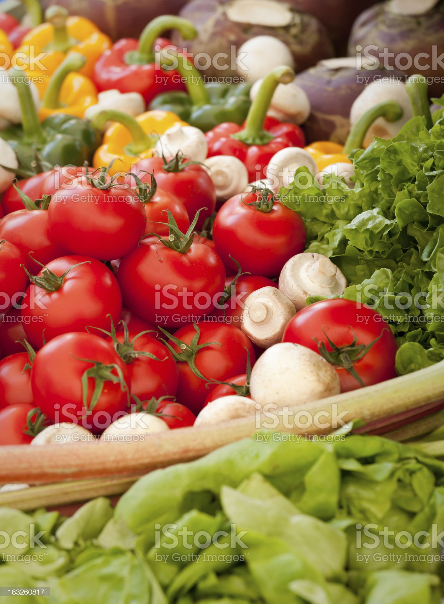 A pile of fresh vegetables at a farmers market royalty-free stock photo