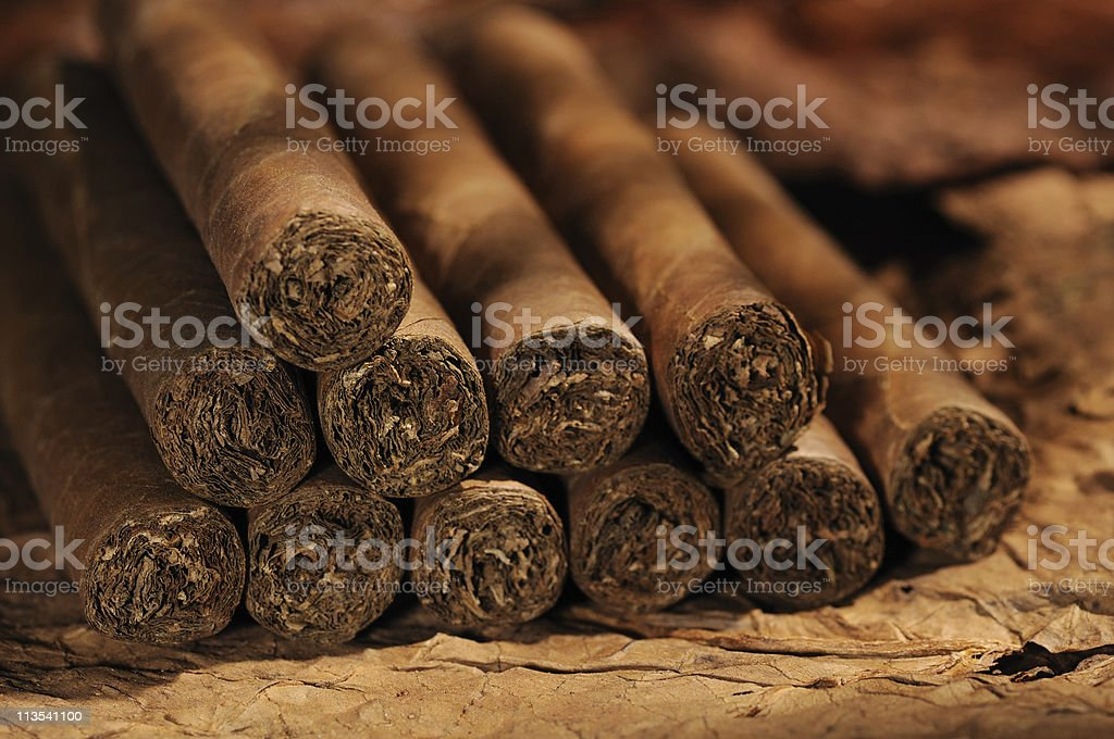 A pile of freshly made Cuban cigars stock photo