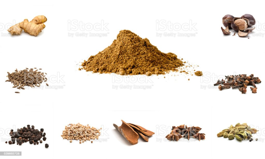 Pile of Garam Masala and Ingredients stock photo