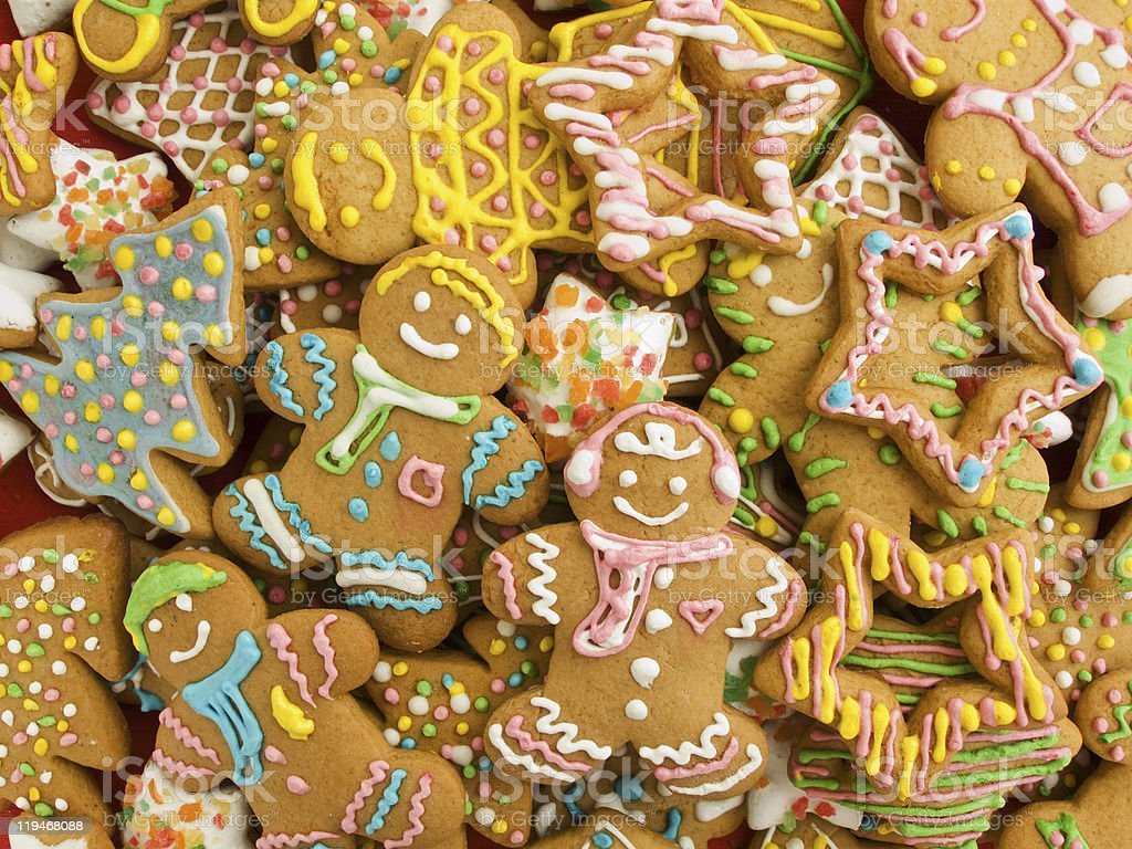 A pile of gingerbread cookies in various shapes royalty-free stock photo