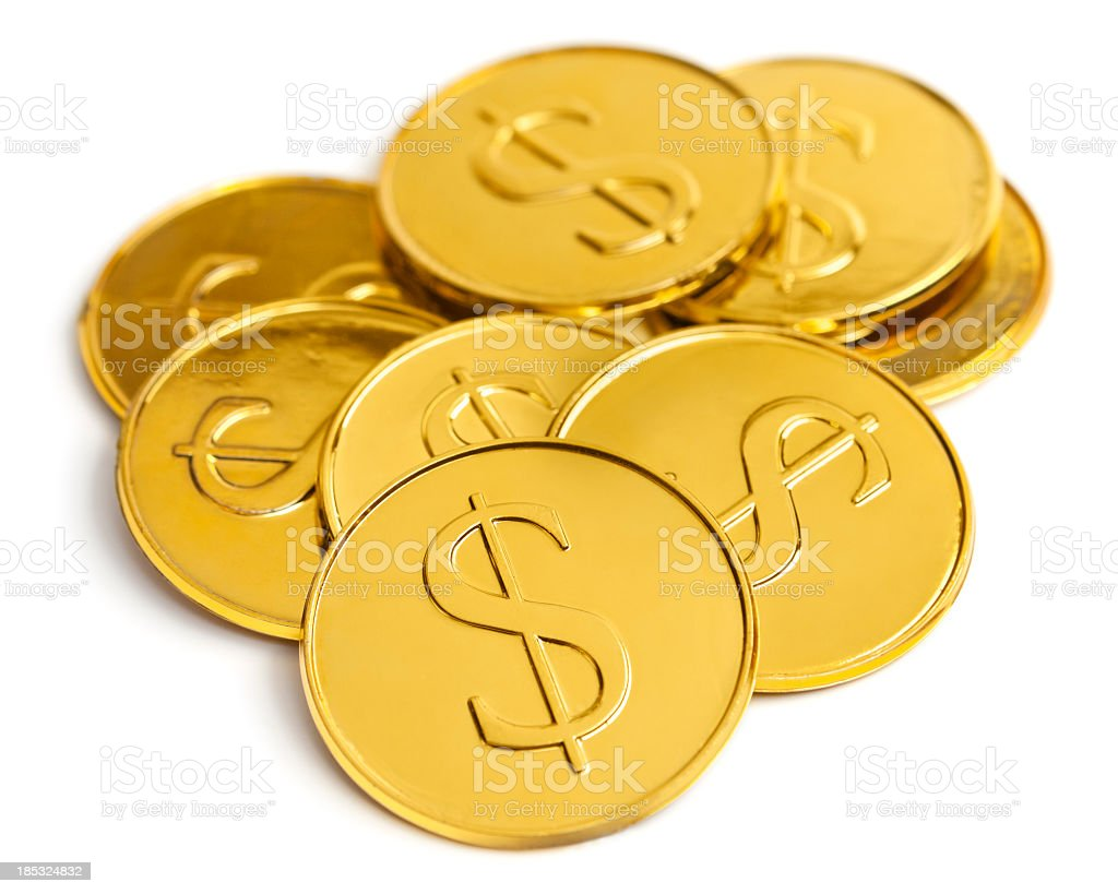 Pile of gold coins stock photo