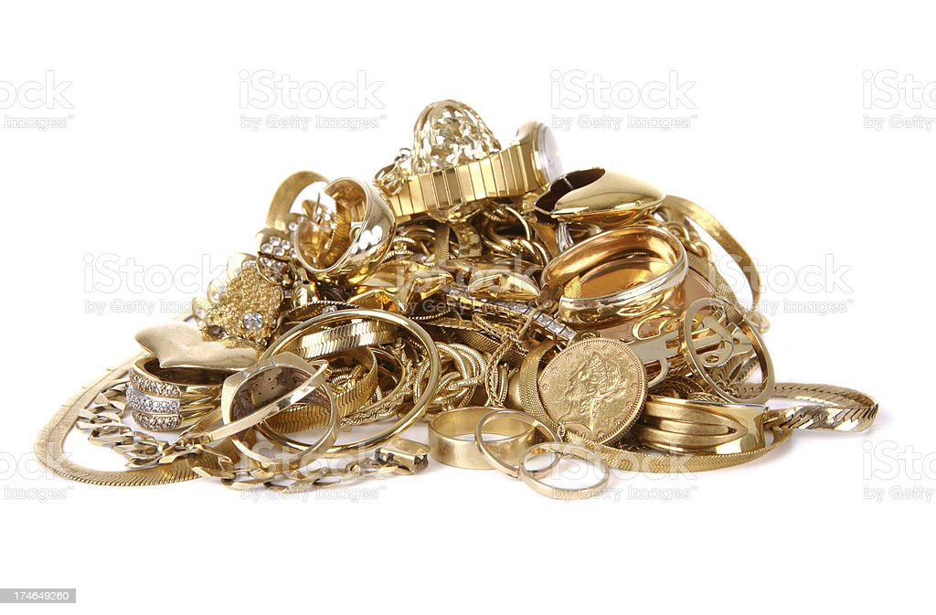 Pile of Gold Jewelry stock photo