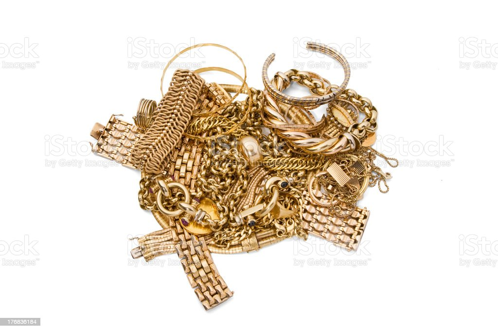 Pile of Gold Jewelry with clipping path royalty-free stock photo
