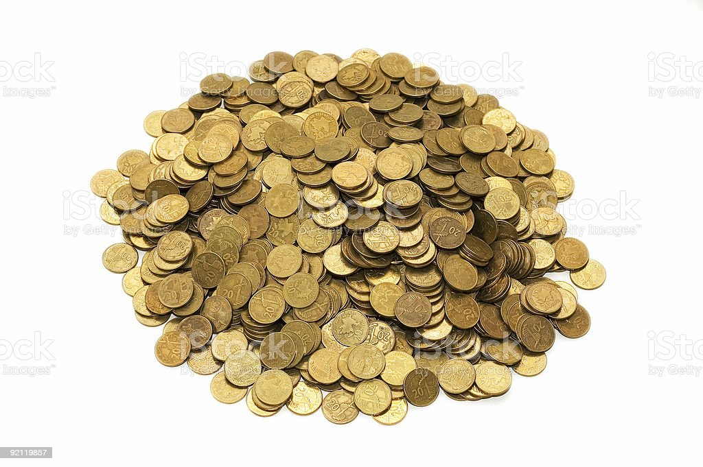 Pile of golden coins isolated on white royalty-free stock photo