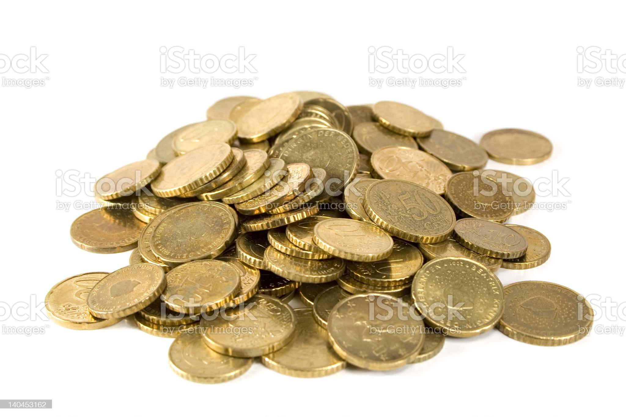Pile of golden coins royalty-free stock photo