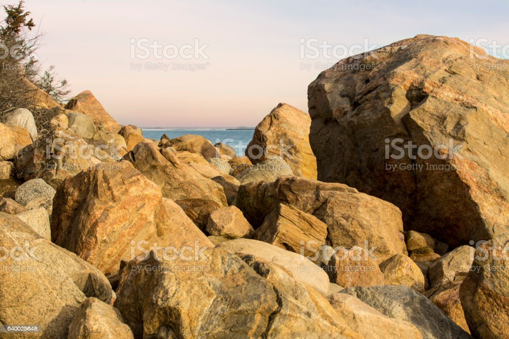 Pile of granite boulders left by the glaciers, Madison, Connecti stock photo