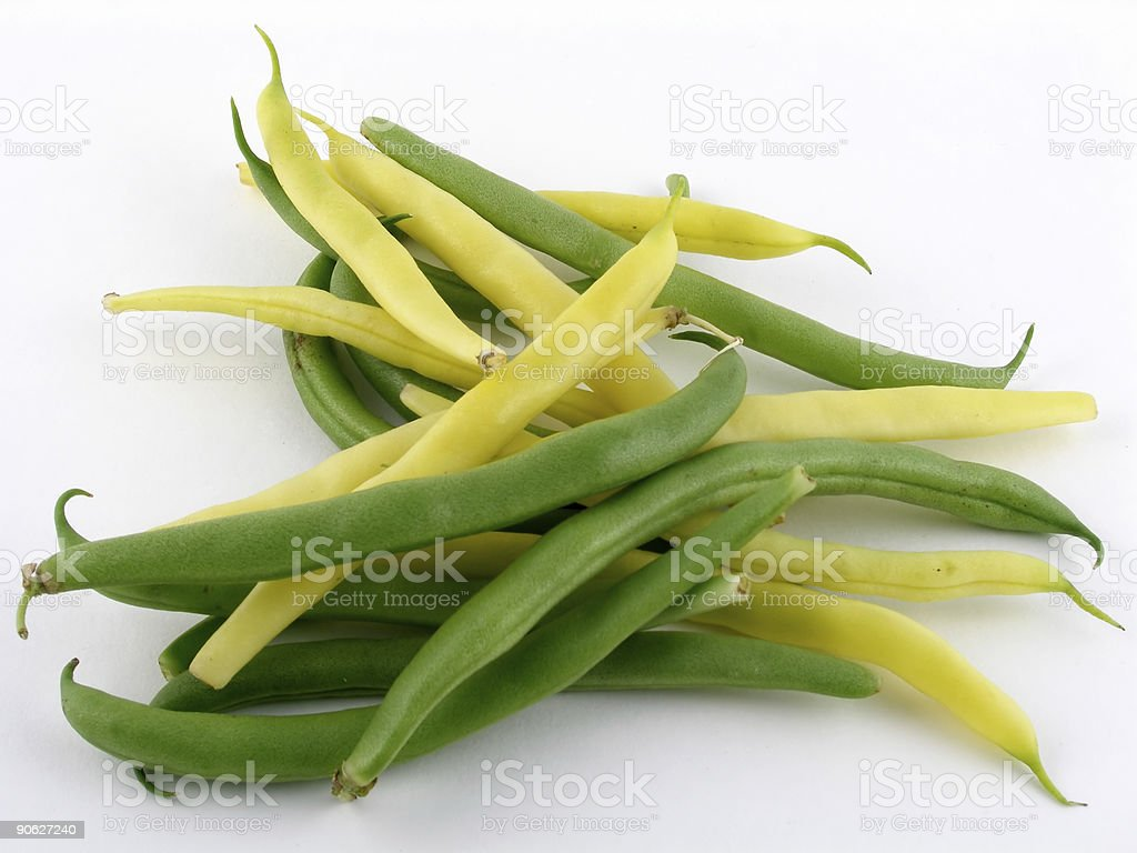 Pile of green and yellow string beans stock photo