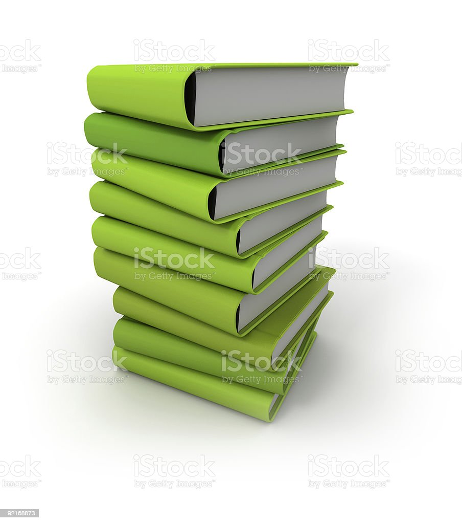 Pile of green books royalty-free stock photo