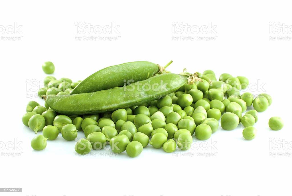 Pilha de ervilhas Verdes e par Vagem foto de stock royalty-free