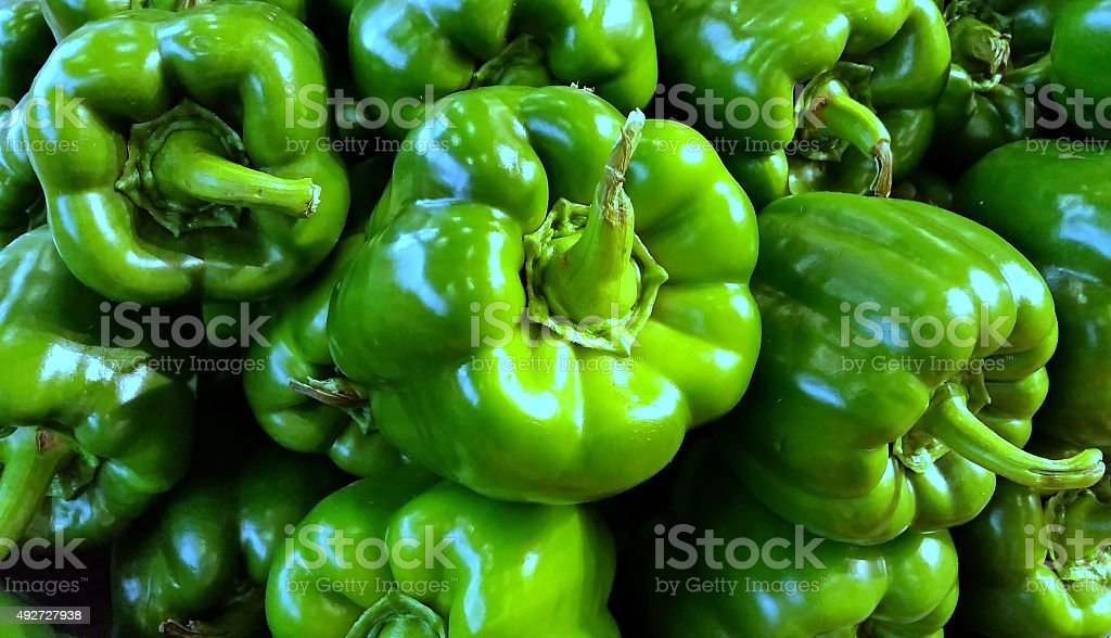 Pile of Green Peppers stock photo