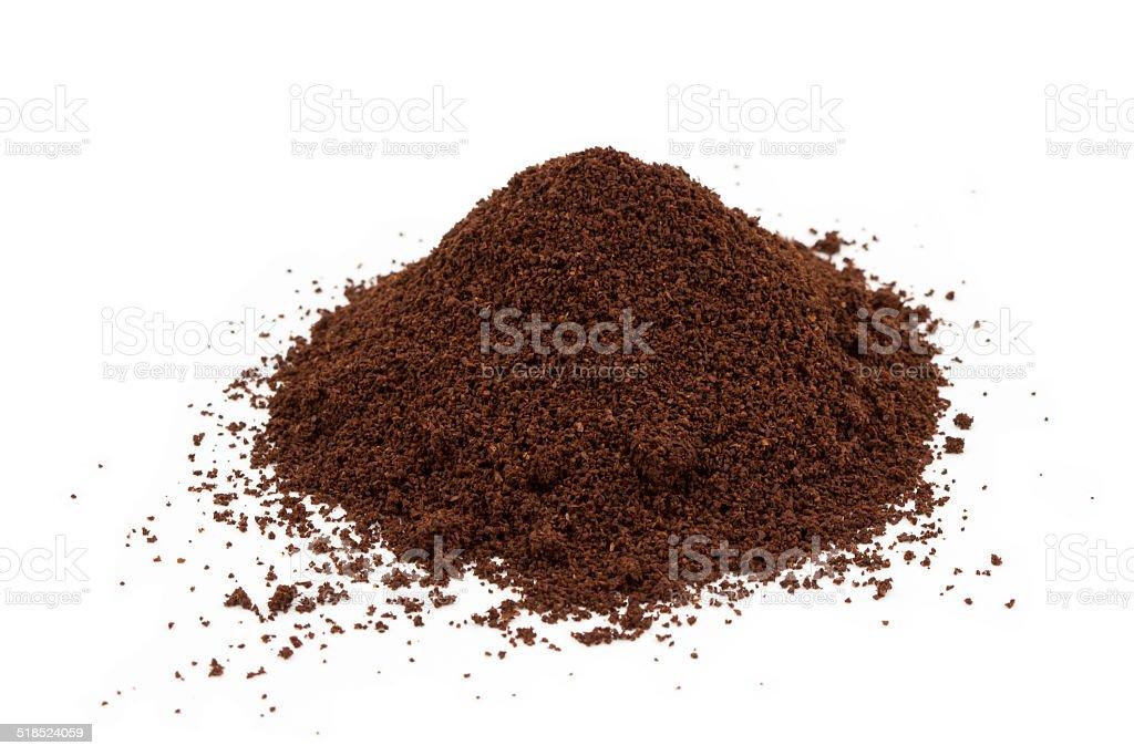 Pile of ground coffee stock photo