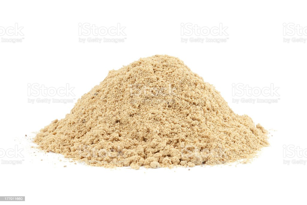 Pile of Ground Ginger (Zingiber officinale) isolated on white ba stock photo
