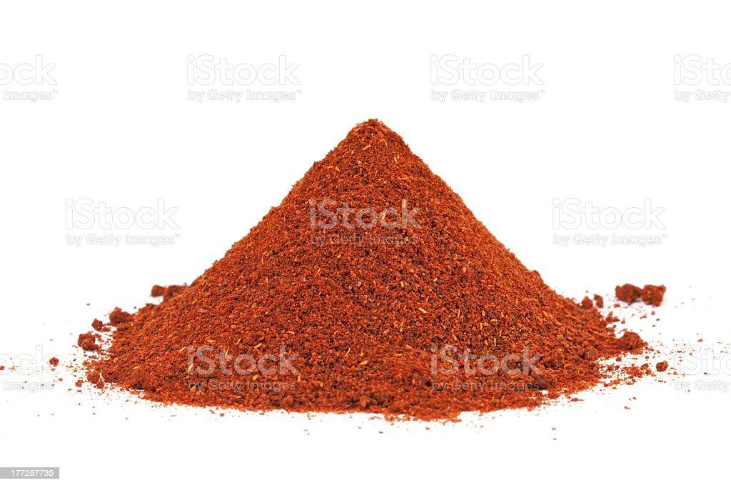 Pile of ground Paprika isolated on white background. stock photo