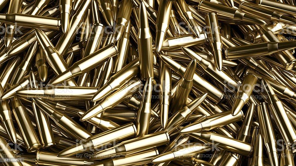 Pile of Gun Bullets stock photo