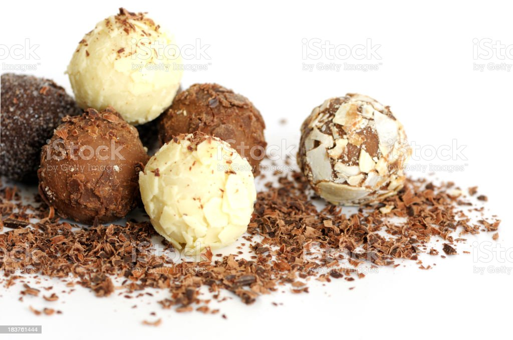 A pile of handmade chocolate truffles royalty-free stock photo