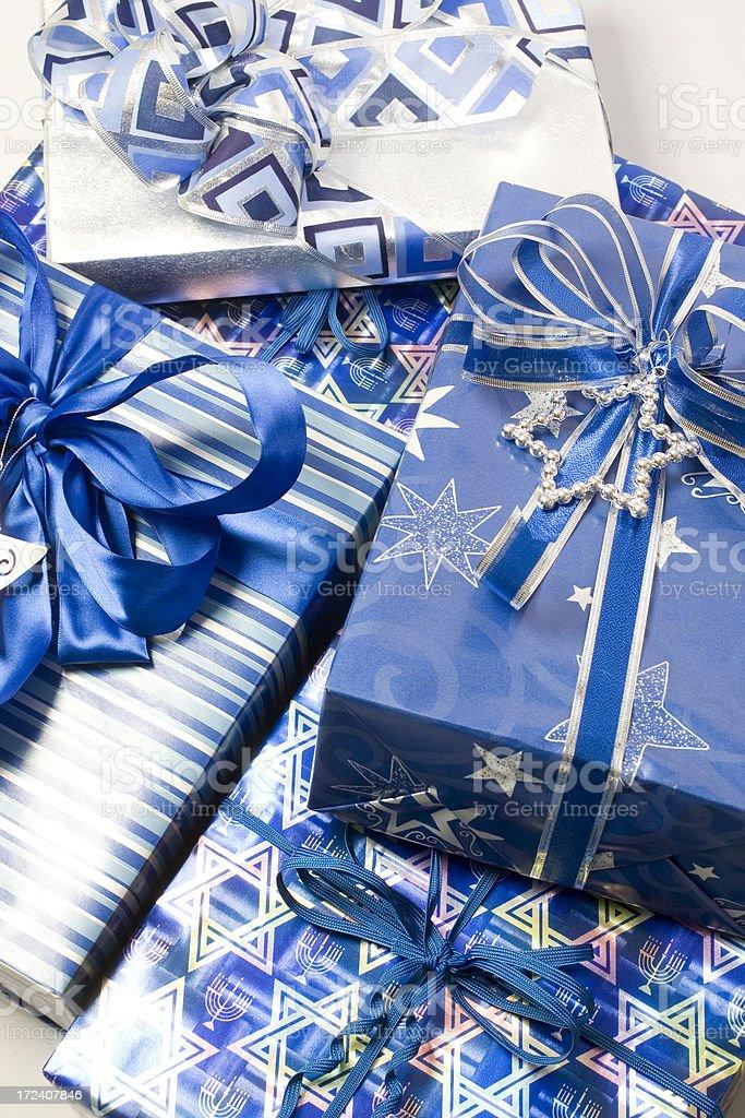 Pile of Hanukkah Gifts royalty-free stock photo